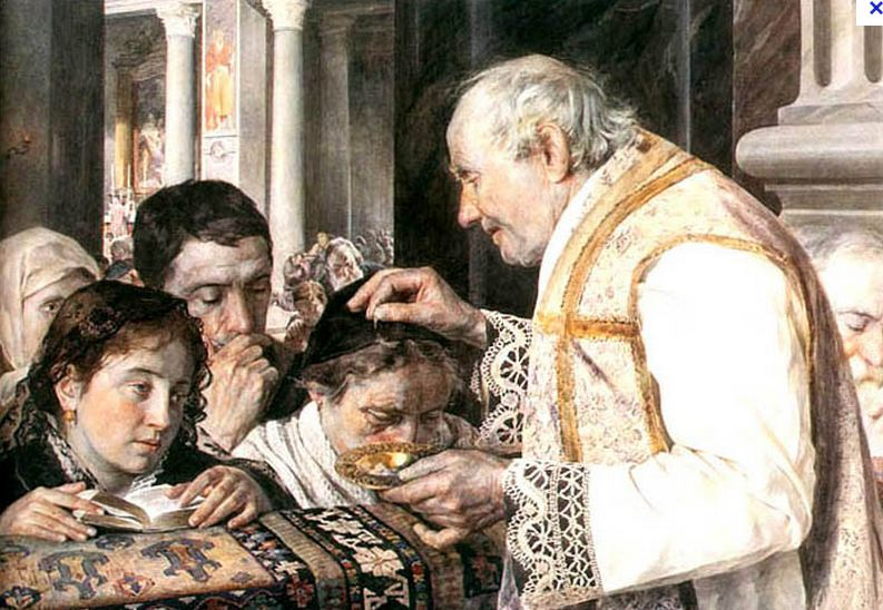 Le prêtre imposant les cendres