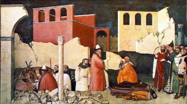Saint Sylvestre tuant un dragon et ressuscitant les victimes