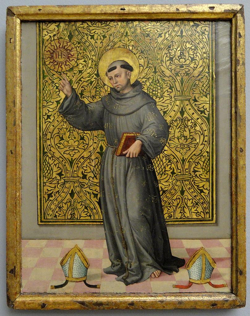 Saint Bernardin de Sienne tenant le monogramme du Christ